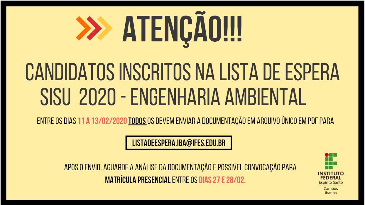 Inscritos Lista de Espera - Sisu 2020 - Engenharia Ambiental