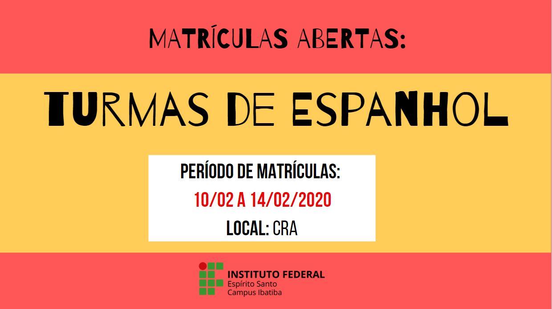 Matriculas abertas Turma de Espanhol