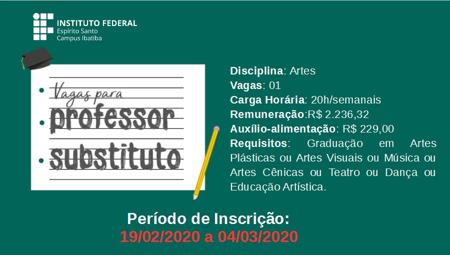 Processo Seletivo Professor Substituto - Artes